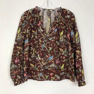 J. Crew Point Sur NEW Brown Bird Floral Blouse